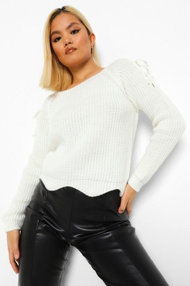 boohoo Petite Lace Up Detail Jumper