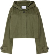Alexander Wang Garment-washed cotton hooded crop jacket