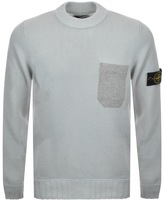 Stone Island Crew Neck Knitted Jumper Blue