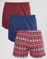 Asos Holidays Woven Boxers With Fair Isle Print 3 Pack