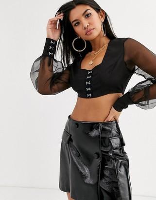 Public Desire sheer balloon sleeve crop corset top-Black