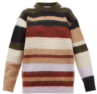 Acne Studios Kalbah Striped Knitted Sweater - Womens - Burgundy Multi