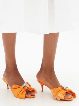 Christian Louboutin Marie Anne 55 Crystal-embellished Grosgrain Mules - Orange