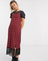 Daisy Street midi slip dress with lace trim in tartan