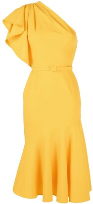 Oscar de la Renta One Shoulder Belted Dress