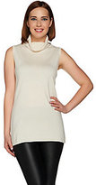 As Is H by Halston Silk- Cashmere Blend Sleeveless Turtleneck