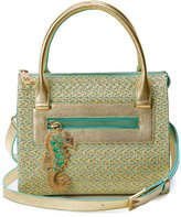 Eric Javits Rio Squishee® Straw Satchel Bag, Patina/Gold