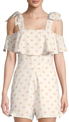 Lea & Viola Polka Dot Cold-Shoulder Romper