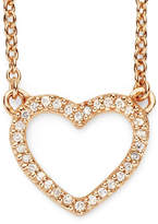 JCPenney FINE JEWELRY 1/10 CT. T.W. Diamond 14K Rose Gold-Plated Mini Heart Pendant Necklace