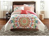 8pc Girls Medallion Motif Comforter Queen Set, Tribal Southwest Indian Native, Bohemian Textural Mandala Pattern, Elegance Boho Chic Hippy Floral Bedding, Abstract Colors Coral Pink Blue Green