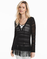 White House Black Market Fringe Hem Lace-Up Tunic Sweater