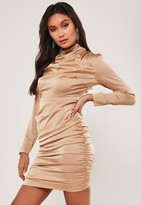Missguided Petite Nude High Neck Ruched Mini Dress