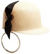 Federica Moretti Panama earring straw hat