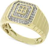 Macy's Men's Diamond Square-Style Ring (1/4 ct. t.w.) in 10k Gold