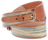 M Missoni Striped Leather Belt