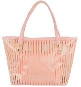 Micom Semi Clear Beach Tote Bags Stripe PVC Swim Shoulder Bag with Interior Pocket
