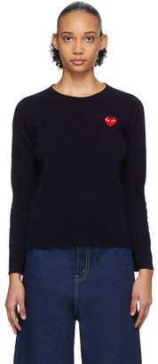 Comme des Garcons Navy Heart Patch Sweater