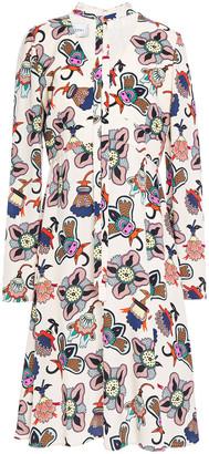 Valentino Tie-neck Floral-print Crepe Dress