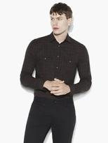 John Varvatos Slim Fit Military Plaid Shirt