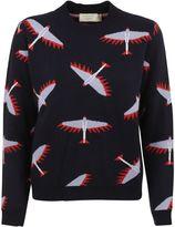 Kitsune Navy All Over Bird Sweater