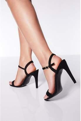 Quiz Black Faux Suede Heel Sandals