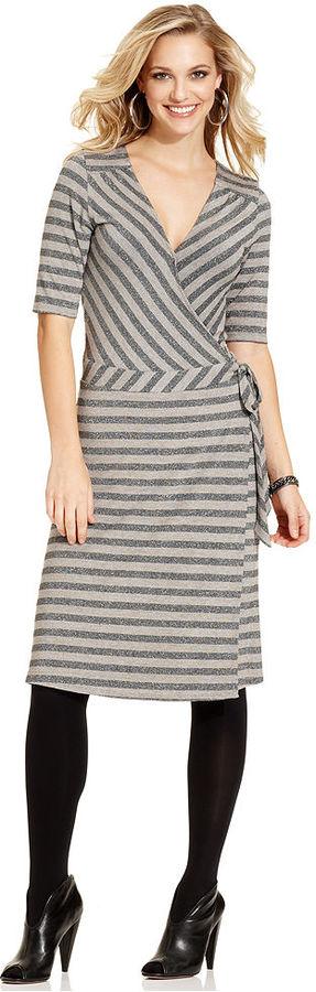 Cha Cha Vente Dress, Short-Sleeve Striped Wrap