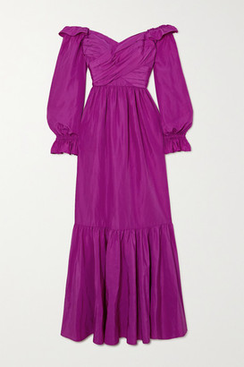 Self-Portrait Off-the-shoulder Ruffled Taffeta Gown - Purple