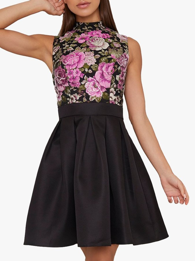 Chi Chi London Sabreen Floral Jacquard Dress, Black