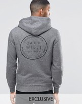 Jack Wills Hoodie With Back Print In Charcoal Exclusive