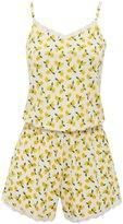 M&Co Lemon print lace trim playsuit pyjamas
