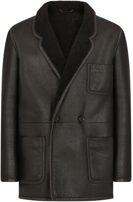 Dolce & Gabbana Lambskin Leather Double-Breasted Coat