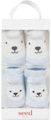 Seed Heritage 2 Pack Bunny Socks Blue