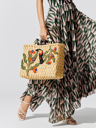 PatBO Embroidered Straw Tote