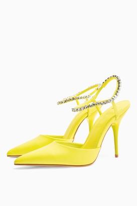 Topshop Womens Fierce Lime Green Diamante Court Heels - Lime