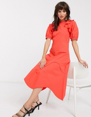 Lost Ink midaxi dress with ruffle shoulder in cotton