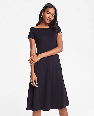 Ann Taylor Petite Off The Shoulder Ponte Flare Dress