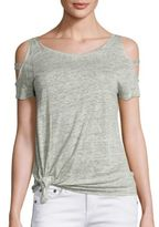 Generation Love Kendall Cold-Shoulder Knot Linen Tee