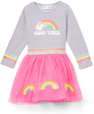 Freestyle Revolution Girls' Casual Dresses - Gray & Pink 'Good Vibes' Rainbow Tulle-Skirt A-Line Dress - Toddler & Girls