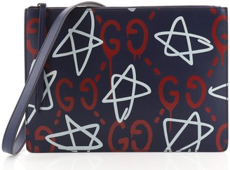 Gucci Zip Messenger Bag GucciGhost Leather Large