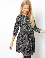 Asos Smock Dress In Animal Jacquard - Gray