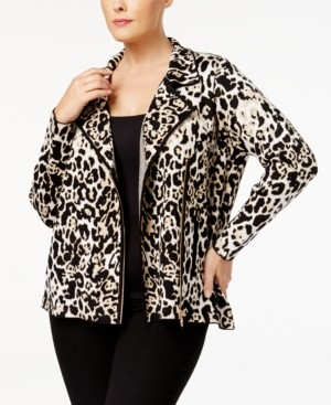 Belldini Plus Size Animal-Print Moto Jacket