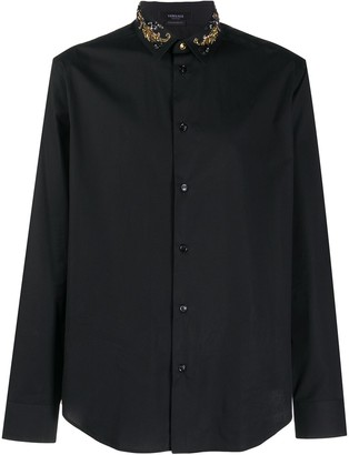 Versace Beaded-Collar Long-Sleeve Shirt