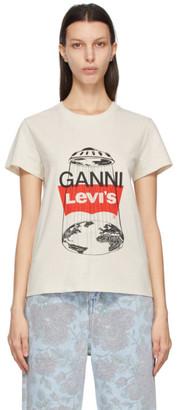 Ganni Off-White Levis Edition Logo T-Shirt
