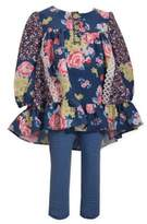 Bonnie Baby Size 6-9M Mixed Floral Top with Striped Leggings