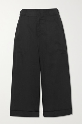 Equipment Kalil Cropped Linen Pants - Black