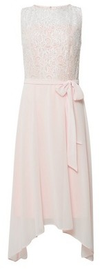Dorothy Perkins Womens Billie & Blossom Tall Blush Lace Hanky Hem Skater Dress