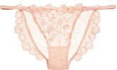L'Agent by Agent Provocateur Camilla Satin-trimmed Embroidered Tulle Briefs - Blush