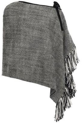 Dolce & Gabbana Fringe-trimmed Herringbone Wool-blend Poncho