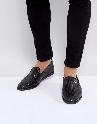 H By Hudson Ipanema woven loafers in black leather