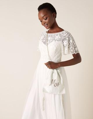Monsoon Mrs Beaded Drawstring Bridal Bag